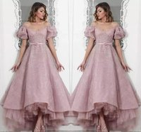2018 Dusty Pink High Low Prom Dresses Lace Short Sleeves Off...