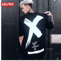 AELFRIC Oversize T-shirt Or Blanc X Croix Lettre Imprimer Noir T Shirt Streetwear Hommes Coton Hip Hop Swag À Manches Courtes Tee GB12