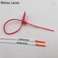 """Stampa ovale di Weiou """"Shoelaces"""" con silicone multicolore con cravatta a zip rossa in lacci di scarpe da 80cm poliestere"""