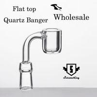 4mm Flat top Quartz Banger prego de quartzo sem dom 10mm 14mm 18mm masculino feminino 90 Graus 100% real Quartz Banger Nails Atacado