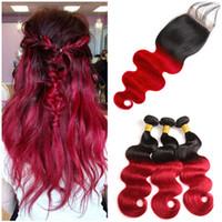 Девственница Малайзии ломбер Красный человеческие волосы ткет с закрытием шнурка 4x4 объемная волна #1B / Красный два тона ломбер пучки человеческих волос с закрытием
