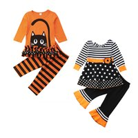Halloween kids girls outfits clothes Tops pants 2pcs set ora...