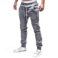 Spring Men Pants Cotton Casual Black Gray Drawstring Long Me...