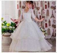 2018 Princess Flower Girl Dresses half Sleeves A- line Lace T.. 40d4f8e96898