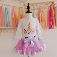 Golden Glitter Unicorn Romper Tutu Skirt Sets for Birthday P...