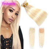 Brésil Virgin Hair Extensions 3 Bundles Avec 4X4 dentelle Fermeture # 613 Couleur libre Moyen Partie III Bundles Droit Cheveux avec fermeture