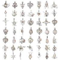 Más estilo 18kgp Moda amor deseo perla / gema cuentas locket jaulas Colgantes, collares aptos pulseras Joyería de DIY Collar de perlas colgantes del encanto