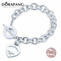 DORAPANG 2019 NEW 100% 925 Sterlingsilber-Charme-Herz-geformte Kettenarmband Schlange Mode Frauen Schmuck Geschenk