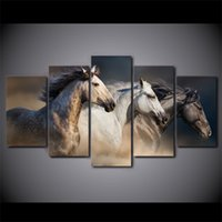 HD Printed 5 Piece Canvas Art Running Horse Painting Animal ...
