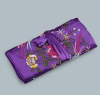 الصينية التقليدية الحرير أزياء نمط المرأة مجوهرات لفة السفر التخزين اليد التطريز الساتان حقيبة التغليف الحقائب شحن مجاني