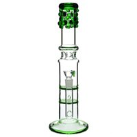 Glass Bong double honeycomb perc bong with log ice compartme...