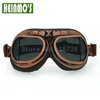 Brown Leather Goggles Glasses With Smoke Lens WWII RAF Vinta...