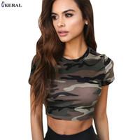 Keral 2018 여름 짧은 소매 카모 여성 T 셔츠 스키니 위장 Cropped Tops Tees 캐주얼 패션 T- 셔츠 Streetwear 여성