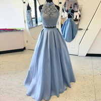 Two Pieces Light Sky Blue Prom Dresses High Neck Sleeves Lace Top Evening Gowns Back Zipper Custom Made Formal Vestidos De Noiva 2018