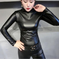 Fashion Autumn Women PU Leather Tops Shirts turtleneck Long ...
