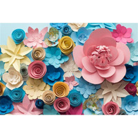 Digital Printing Colorful 3D Paper Flowers Vinyl Backdrop fo...
