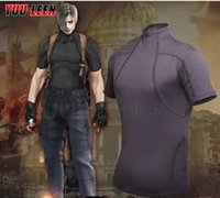 Resident Evil 4 Leon Kennedy Cosplay T-Shirt Kurzarm Herren T-Shirt Tight Outdoor Sport Tactical T-Shirt