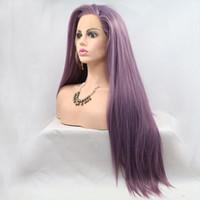 판타지 아름다움 내열 Fibeter 글루리스 스트레이트 보라색 합성 레이스 앞 가발 라벤더 머리 가발
