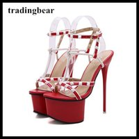 16cm Dance shoes red black partchwork T strappy platform ult...