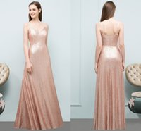 Rose Gold Sequins A Line Bridesmaid Dresses 2018 Cheap Spagh...