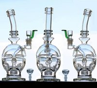 Schädel in Glasbongs mit Zufalls Bowl Joint Größe 14.4mm 26cm Reifen perc Februar Egg Glas Bongs Wasserpfeifen Zwei Fuction Hookahs
