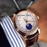 Bon marché neuf 39mm cellini moonphase 50535 m50535 cadran blanc Mens automatique Montre Rose Gold Case En Cuir Strap Sapphire Montres Hello_Watch