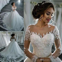Amazing Sheer Neck Wedding Dresses 2018 Lace Appliques Beads...