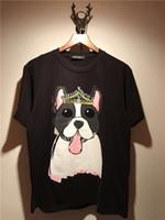 2018 ropa de verano de los hombres Nuevos hombres de manga corta o - tops de la manera del cuello Camisetas de la impresión del dogo de la historieta marca de los hombres camisetas