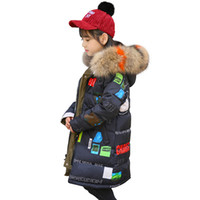 Girls Colorful Print Down Parkas Children Winter Thicken Fur...