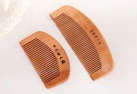 Escovas de cabelo superior personalizado logotipo natural pêssego pente de madeira fim escova escova anti-estática massagem cuidado de madeira a397