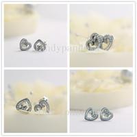 Yeni 100% S925 Gümüş Avrupa Pandora Stil Takı Kalp Swirls Saplama Küpe ile CZ