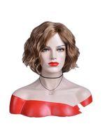 2018 새로운 뜨거운 판매 Xiu Zhi 메이 고품질 짧은 물결 모양의 가발 합성 머리 가발 여성을위한 어두운 갈색 자연 사이드 헤어 라인 전체 옹 브