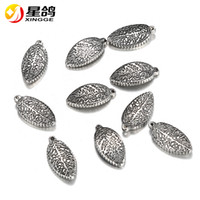 16*8mm hole 1mm silver tone leaf Charms stainless steel leav...