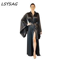 LSYSAG Kadınlar Seksi Coat Plaj Partisi Derin V Yaka 2018 Üzeri Boyut Yeni Moda Gevşek Yumuşak Rahat Siyah Elegent Giyim Gece