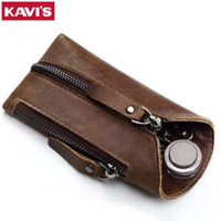 KAVIS Genuine Leather Housekeeper Key Wallet Smart Car Bag Pouch Ring Wrap Fo Organizer Case Man With Coin Card Holder Keychain