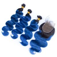 # 1B / Blau Ombre Brazilian Jungfrau Menschenhaar 3bundles mit Verschluss Körperwelle Ombre Blue 4x4 Spitze Frontverschluss mit reinem Haar Weave Fefts