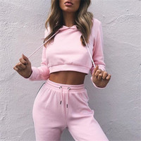 Two Pieces Outfits Tracksuits Hooded Long Sleeves Crop Top a...