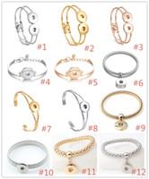 12 Stilleri Noosa Gümüş Altın Kaplama Snap Düğmesi Bilezik 18mm Yapış Düğmeler charm Bilezik Bilezik DIY Snap Düğmesi Takı
