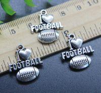 الجملة 30 قطع أنا أحب كرة القدم سبيكة سحر قلادة الرجعية المجوهرات جعل diy المفاتيح قلادة الفضة القديمة لسوار الأقراط 20 * 18 ملليمتر