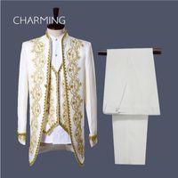 Мужчины свадебный костюм (куртка+брюки+жилет) белый черный Vogue Дворец стиль золотая вышивка мужчины смокинги классический жених фактические фотографии