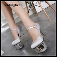 16cm silver satin wedding shoes women designer high heels pl...