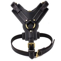 Black Genuine Leather Dog Harness for Medium and Large Dogs ...