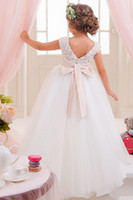 Flower Girls Dresses Bow Sash Tulle Applique Party Princess ...