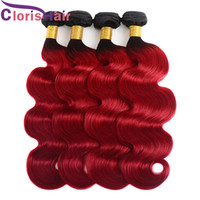 Ombre 1b Red Body Wave Hair Weaves 3pcs Two Tone Red Brazill...