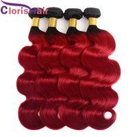 Ombre 1B Kırmızı Vücut Dalga Saç Örgüleri 3 adet Iki Ton Kırmızı Brazillian Virgin İnsan Saç Uzantıları Ucuz Dalgalı Koyu Kök Kırmızı Ombre Demetleri