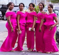 Fuchsia Plus Size Mermaid Bridesmaid Dresses Long Off The Sh...