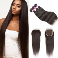Raw Indian Virgin Human Hair Straight Bundles With Lace Clos...