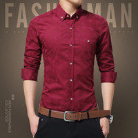 Hot Sale New Fashion Casual Men Shirt Long Sleeve Jacquard W...