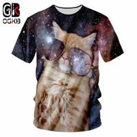 OGKB Homens Casual Tshirts Impressão Alienígena Gato Fresco T-shirt Homem Hip Hop Streetwear Camisas Homme Manga Curta O Pescoço T Unisex Animal