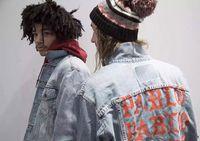 Uzun Kollu Büyük Broken Erkekler Ceketler Toptan Zarar Moda Ceket Denim Ceket mektup baskılı Yıkama Do Eski